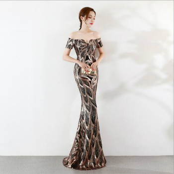 U-SWEAR 2019 NEW Arrival Bridesmaid Dress Boat Neck Sequined Backless Sequin Mermaid/Trumpet Dress Elegant Slim Sexy Vestidos