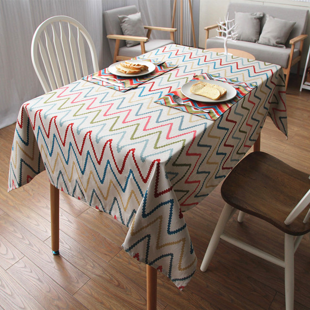 Delightful Contemporary Unique Table Cloth For Dining Table Geometric Insertion Waves  Outdoor Decoration Use Rectangle Table Cover