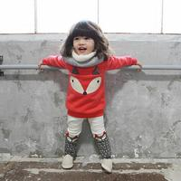 Otoño Bebé Ropa Chándal Niños Ropa de piel de Zorro Top + Pantalones de Manga Larga Lovely Girls Ropa Gruesa 2 unids Establece Chándales