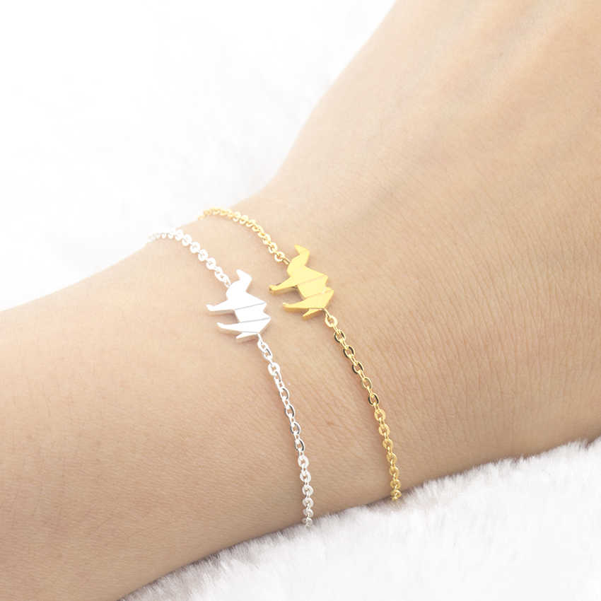 Stainless Steel Delicate Origami Camel Bracelet Jewelry Gold Silver Color Chain & Link Bracelets For Women Birthday Gift Pulsera