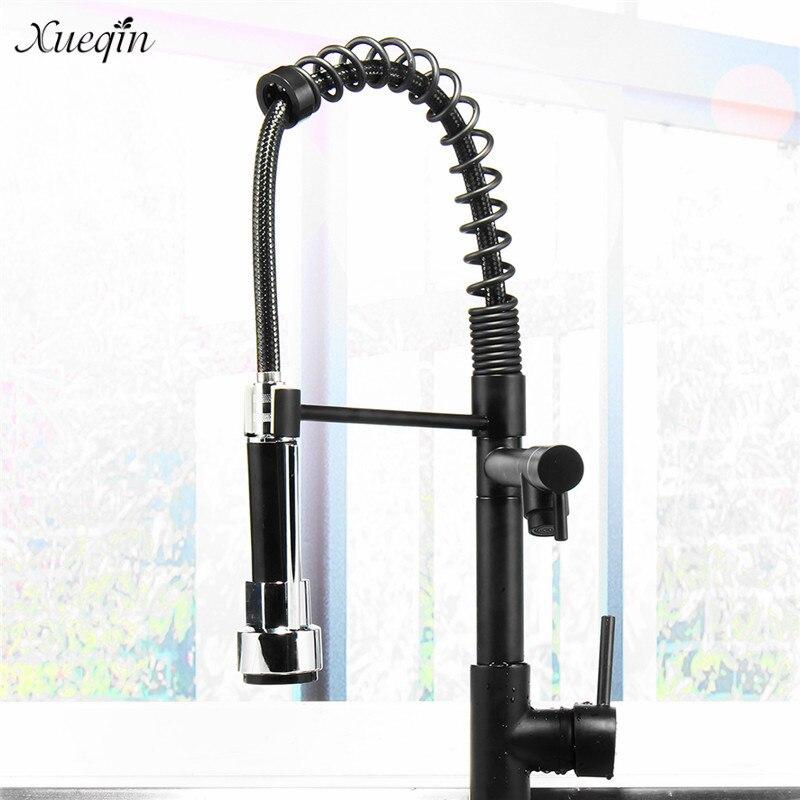 Xueqin tout noir cuisine robinet d'eau tirer vers le bas 360 pivotant à main douche cuisine mélangeur robinets