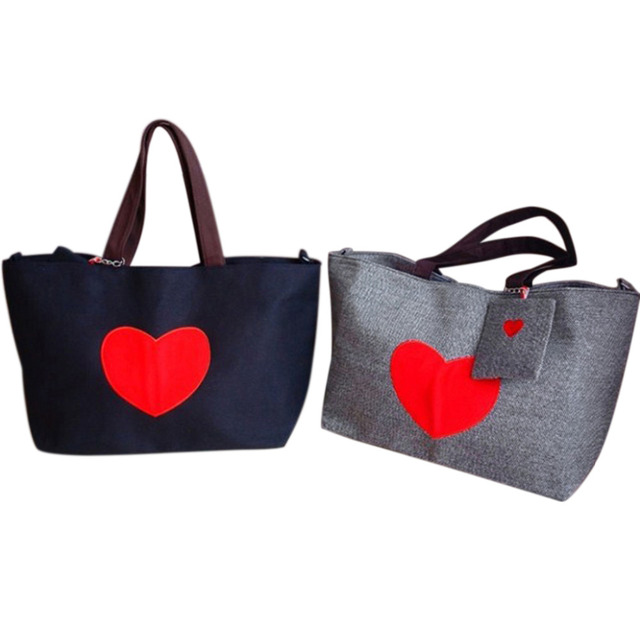 Tote Bags for Women Heart Print Canvas Tote Shopping Large Capacity Women Canvas Beach Bags Casual Tote Purse Handbags 2
