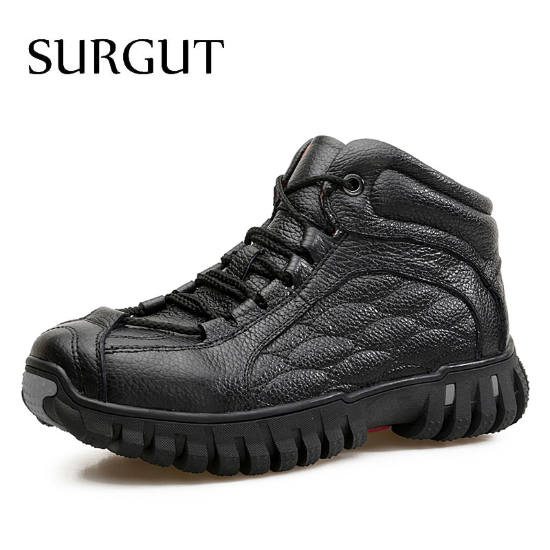 Surgut New Fashion Men Winter Shoes Solid Color Fur Snow Boots Plush Inside Anti Skid Bottom Keep Warm Waterproof Ski Boots Men's Boots