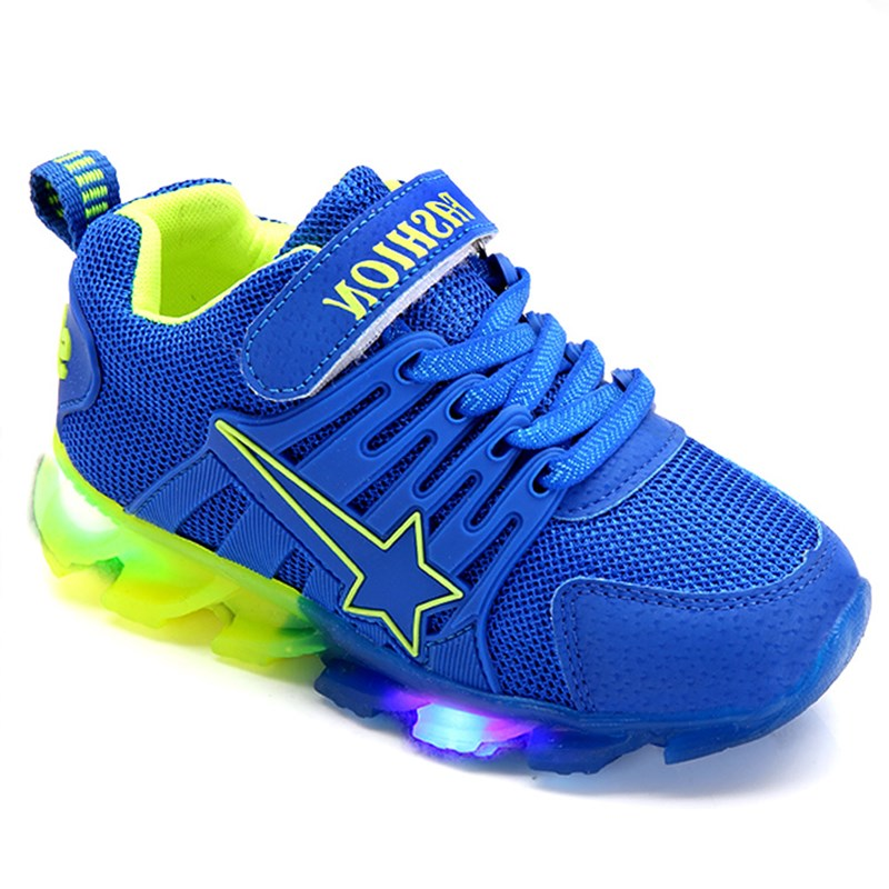 kids Five-pointed star Shoes with New LED light winter Autumn Sports Sneakers Boys soft Shoes girl cute shoes eu size 21-35