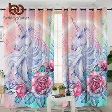 침구 류 유니콘 및 로즈 커튼 거실 용 어린이 만화 침실 커튼 여성용 꽃 무늬 창문 커튼 1 피스