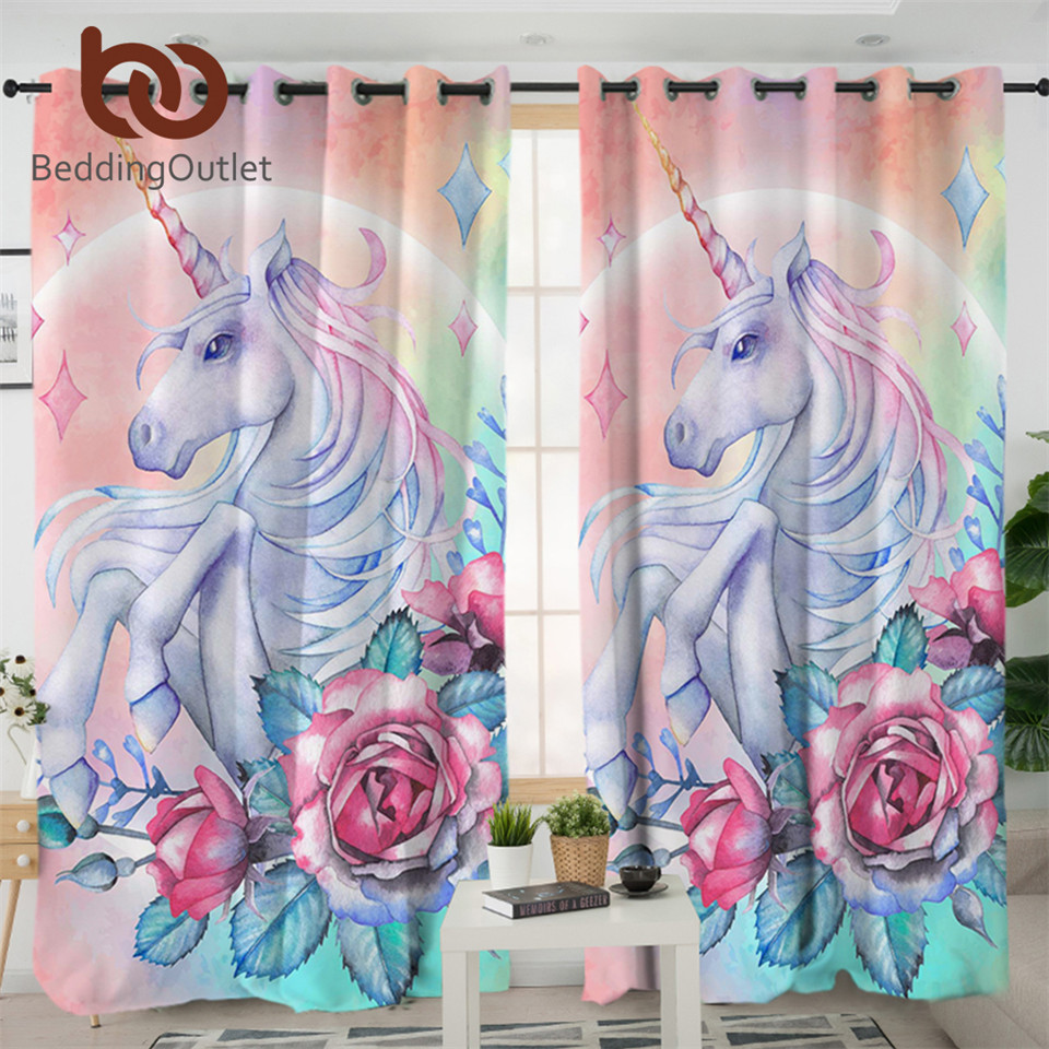 BeddingOutlet Unicorn And Rose Curtain For Living Room Kids Cartoon Bedroom Curtain Girly Floral Window Treatment Drapes 1-Piece