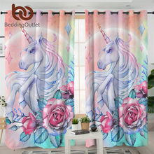 BeddingOutlet Unicorn and Rose Curtain for Living Room Kids Cartoon Bedroom Curtain Girly Floral Window Treatment Drapes 1-Piece(China)
