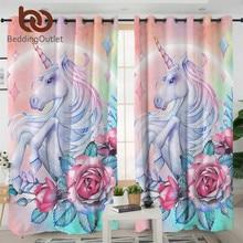 Cortina de unicórnio e rosa para sala de estar, cortina floral para tratamento de janela, 1 peça