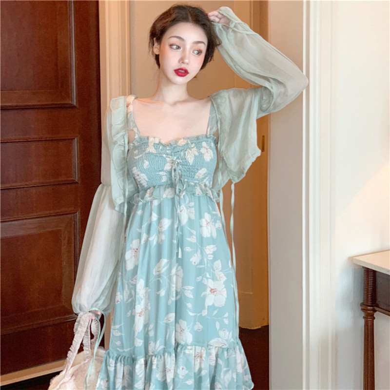 Women Dress Sets 2019 Sunscreen Cardigan And Beach Dress Set Two Piece Summer 2 Pcs Matching Outfits Holiday Floral Dress Suits