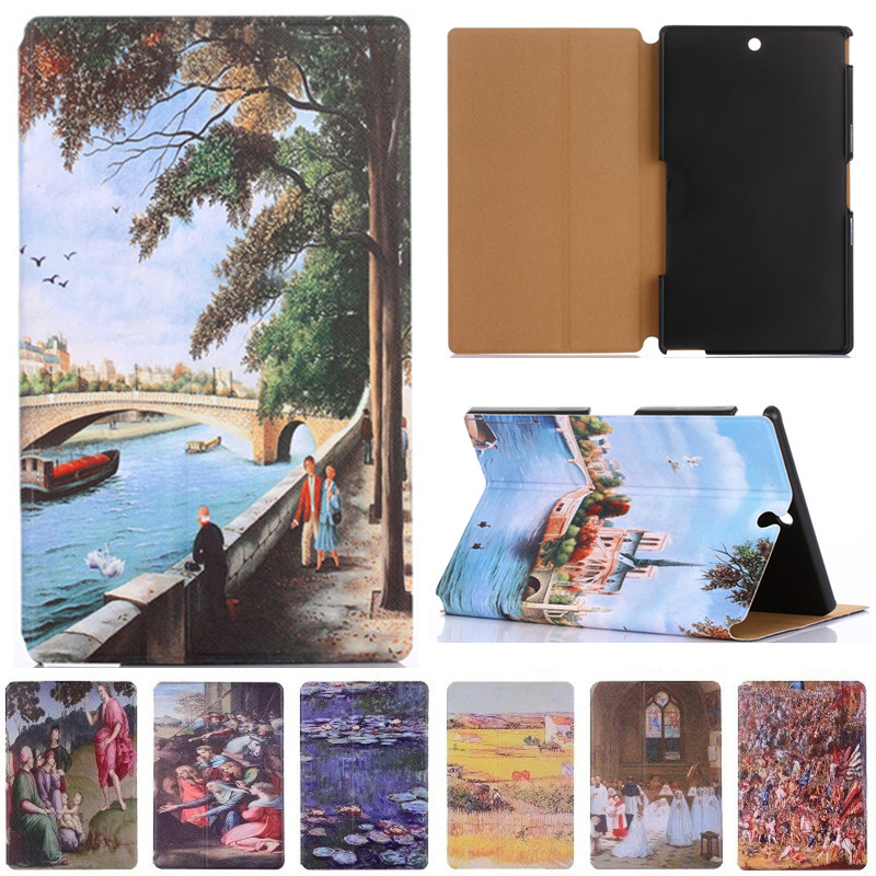 For sony z3 case Fashion Starry Sky Oil Painting For Sony Xperia Z3 Compact Tablet Cover Vintage Art Painted Pattern Tablet Case x line tpu case gel silicone tablet case skin rubber cover pouch sleeve bag for sony xperia z3 8 0 tablet compact sgp621 sgp641