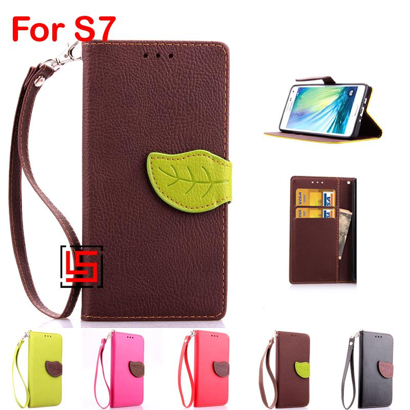 New Leaf Clasp PU Leather Flip Wallet Walet Phone Cellphone Case Cover Cove For Samsung Sumsang Galaxy Gelaksi S7 Red Green