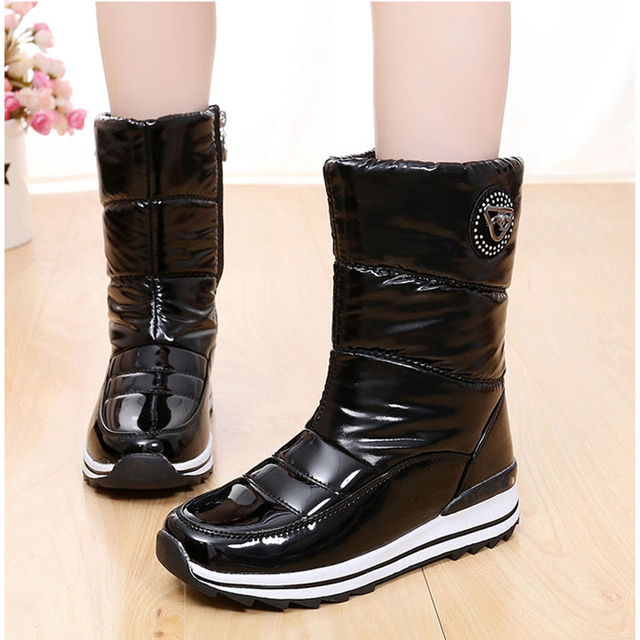 Women Boots 2017 Waterproof Platform Mid-calf Snow boots Women High Quality Thick Plush Winter Shoes With Zipper