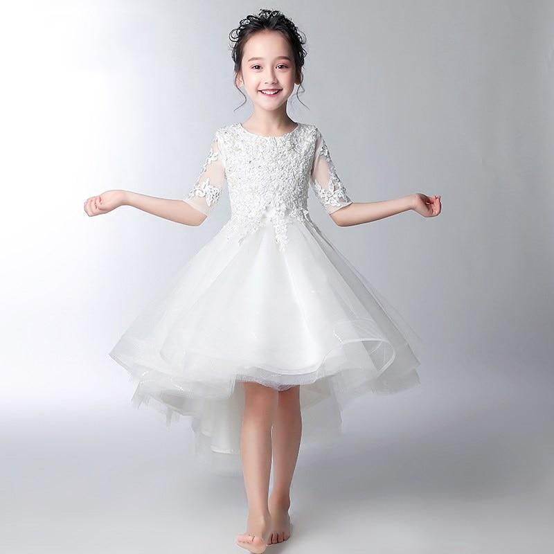 White Flower Girl Dresses for Wedding Ball Gown Princess Dress Beading Short Front Long Back Kids Pageant Dress for Birthday