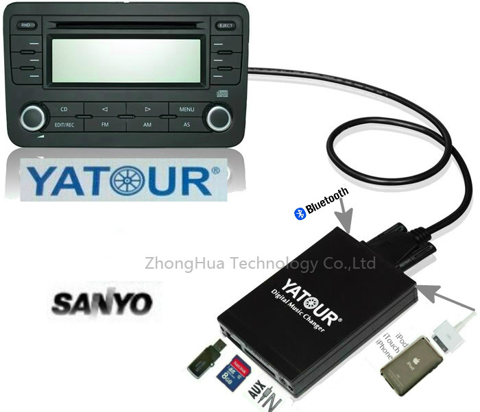 Yatour YTM07 Digital Music Car CD changer USB SD AUX Bluetooth  ipod iphone  interface Sanyo Fiesta  MP3 Adapter Player yatour car digital cd music changer usb mp3 aux adapter for opel vauxhall holden 2006 2010 antara astra h j corsa combo vectra