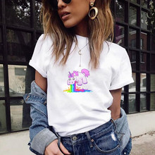 Poleras De Mujer Moda 2018 Rainbow Unicorn Printing Tshirt Women Harajuku Kawaii Fashion Plus Size Streetwear Top Camisas Mujer(China)