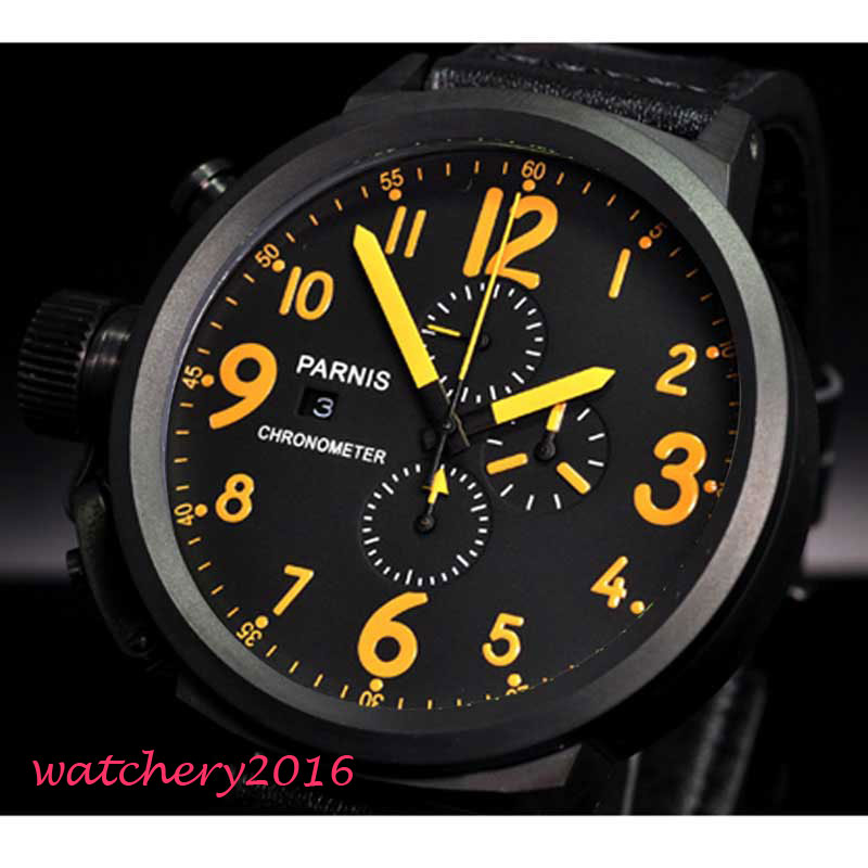 50mm Parnis black dial orange marks PVD Chronograph Lefty quartz mens Watch 43mm parnis rose golden case black dial orange marks date week full chronograph quartz mens watch