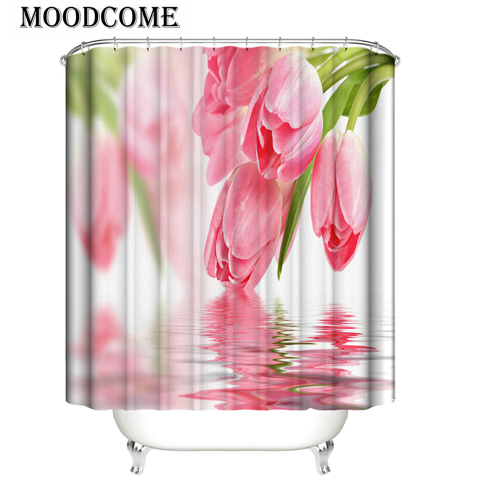 Netherlands Tulip Shower Curtain Pink Bathroom Decor Water Rose