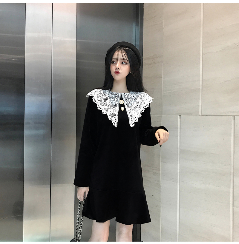 Gothic Style Women Velvet Dresses Black Velour Dress White Crochet Lace Collar Vestidos Mujer Loose Fitting Dress Plus Size (4)
