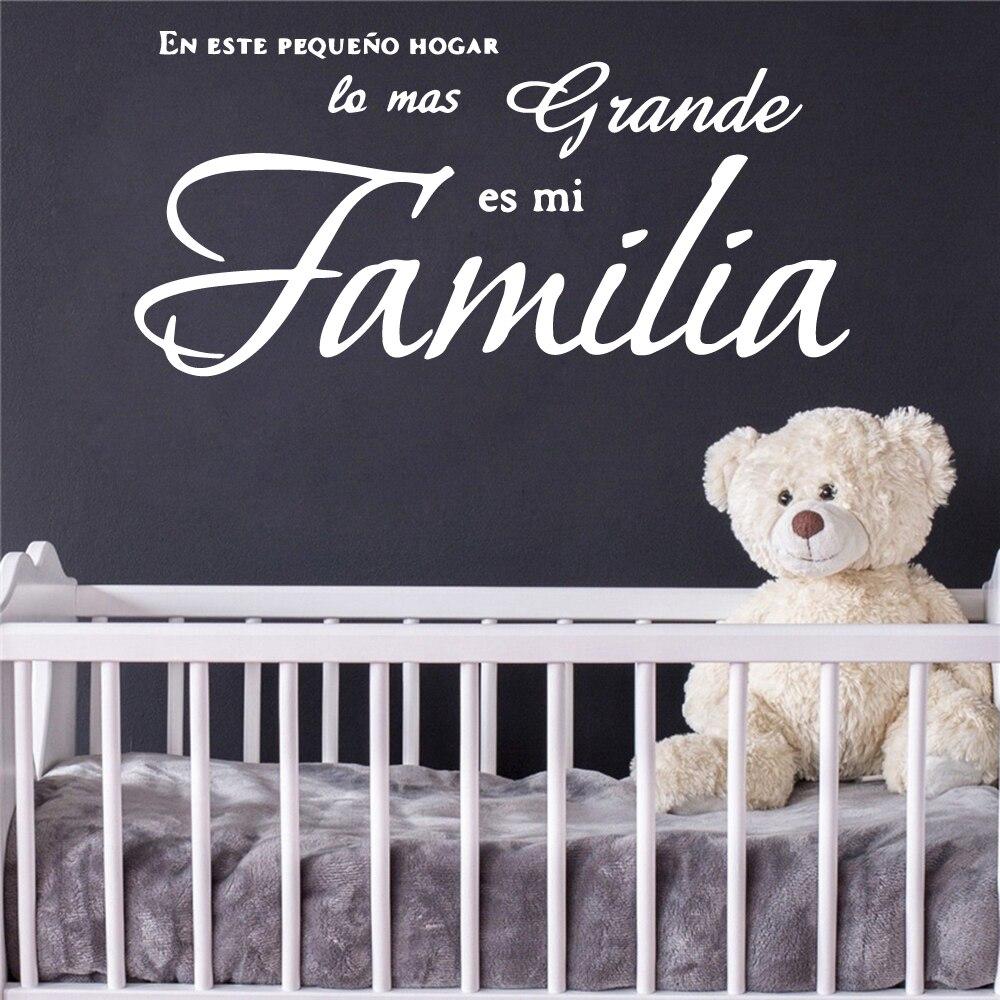 Artistic Spanish Sentence House Decor Vinyl Stickers For Kids Baby Room Wall Decals Living Room Vinyl Mural Adesivo De Parede