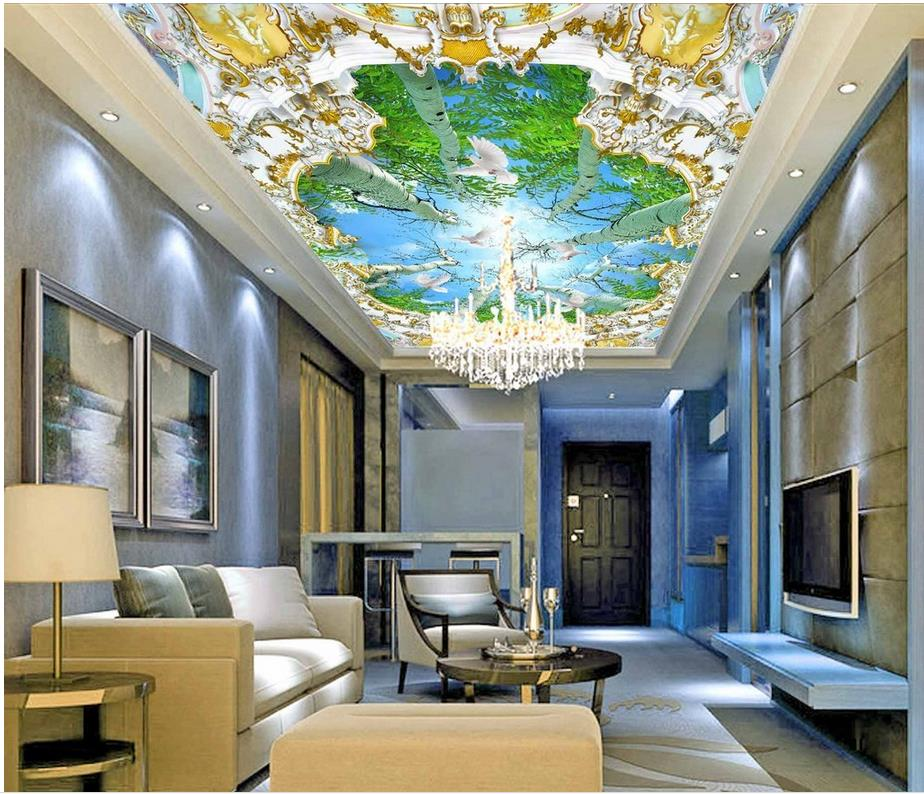 Natural landscape tree forest wallpaper murals ceiling for Ceiling mural wallpaper