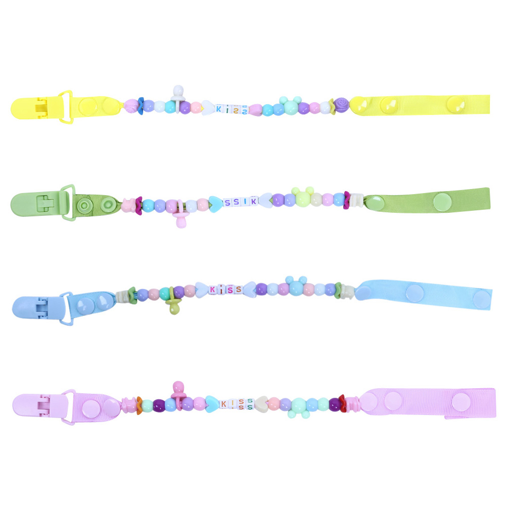 font b Baby b font Pacifier Clips Nipples Cute Letter and Beads Chain Holder Strap