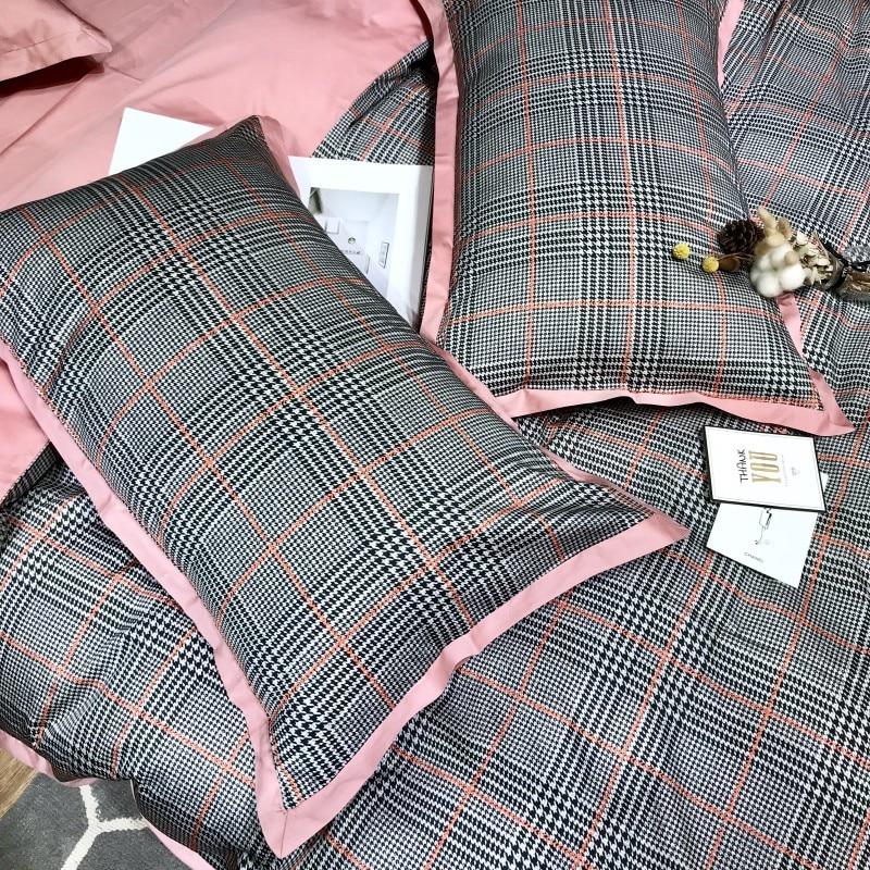60S Египетский хлопковый клетчатый Комплект постельного белья, 4 шт., Королевский размер, Шелковый домашний комплект постельного белья из хло... - 4