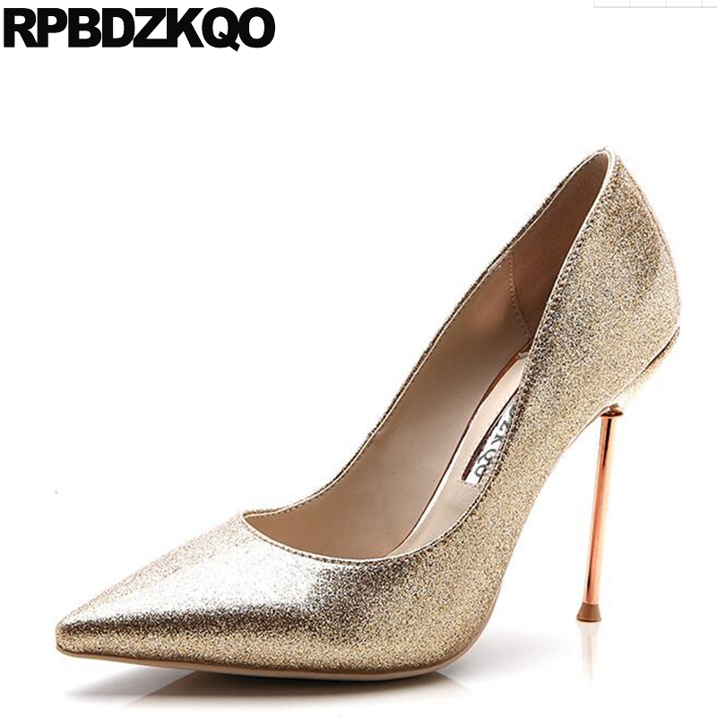 Shoes Pumps Super Gold Glitter Heels Ultra 11 43 10 42 Ladies Scarpin Big Size 33 High Quality Discount Pointed Toe Extreme духовой шкаф kaiser eh 6365 sp