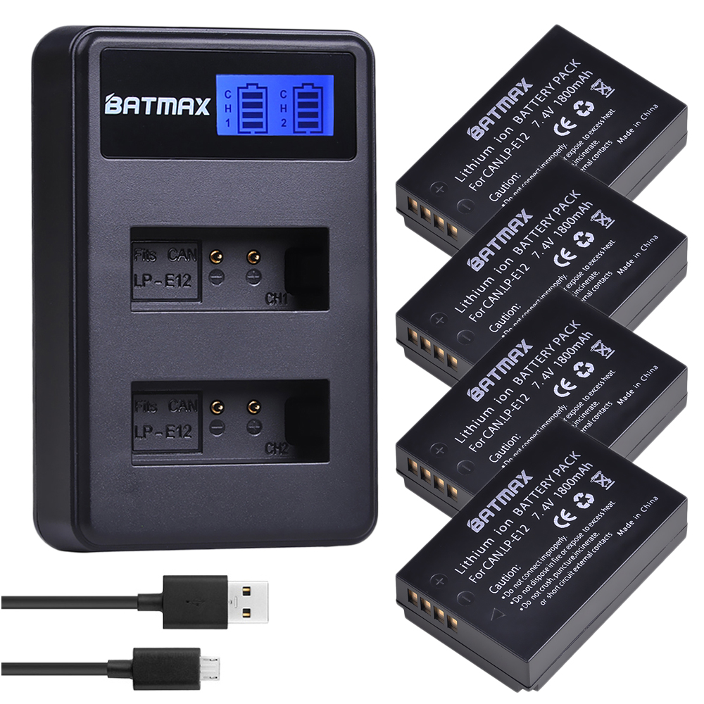 4 pièces 1800 mAh LP-E12 LP E12 LPE12 Li-ion batterie + LCD USB double chargeur pour Canon EOS M50, EOS M100, 100D Kiss X7 rebelle SL1 appareil photo