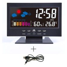 LED Digital Watch Electronic Desk Clock Alarm LCD Projector Snooze Humidity Temperature Weather Time Calendar Date Multi
