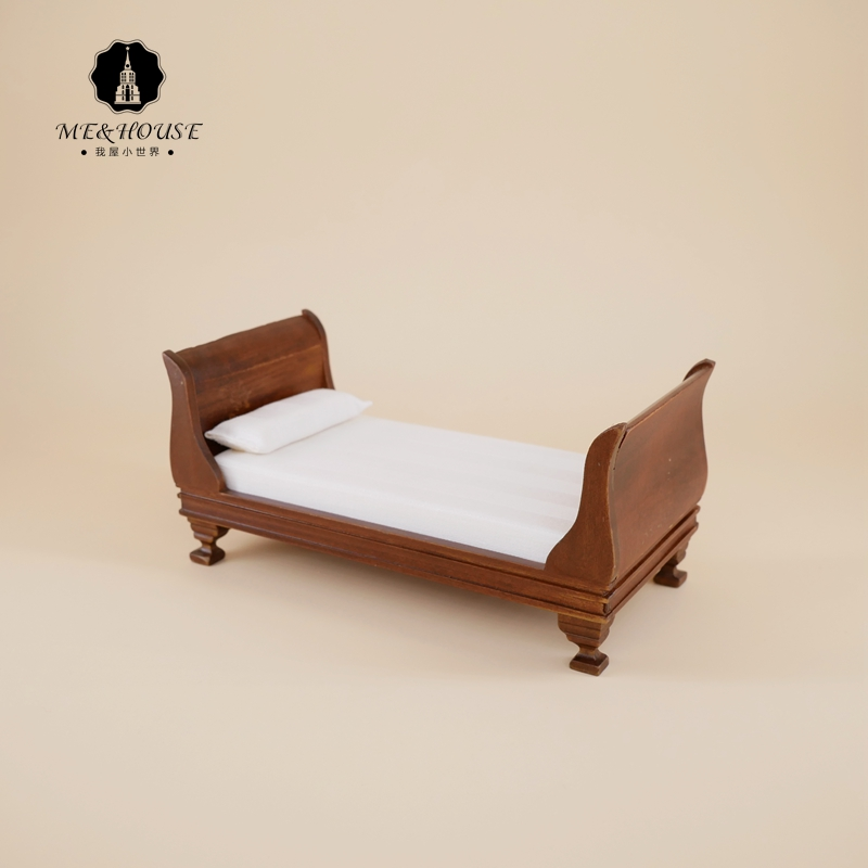 1/12 Scale Dollhouse Single BJD Bed Mini Toys Simulation Dolls Vintage Furniture Wooden Bed For Doll House Decoration free shipping plastic miniatures bedroom furniture single bed with pillow and bed sheet for barbie dolls dollhouse kids gift