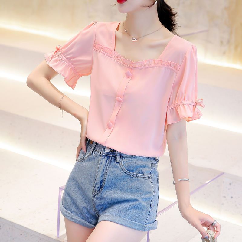 Fashion New Summer Short sleeved Women Tops Square Collar Chiffon Blouses Shirts Butterfly Sleeve Cuasual Feminine Blouses 932C7 in Blouses amp Shirts from Women 39 s Clothing