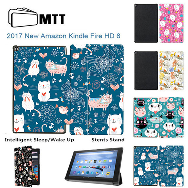 MTT Cat Avatar For Amazon Kindle Fire HD 8 2017 7th Generation Tablet Case PU Leather Funda Cover for new Kindle Fire HD8 2017