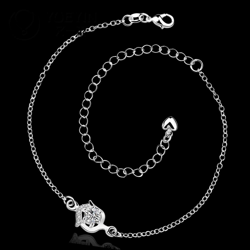 4 Colors Hot Sale Silver Plated Anklet Bracelet with Stock Delicate Anklets for Women Foot Jewelry .