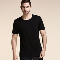 Bamboo fibre male short sleeve T shirt 2018 summer plus size t shirt for men o neck loose old age tops fashion black white