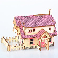 DIY Model toys 3D Wooden Puzzle-Western-style cottage Wooden Kits Educational Puzzle Game Assembling Toys Gift for Kids Adult P6 цены онлайн