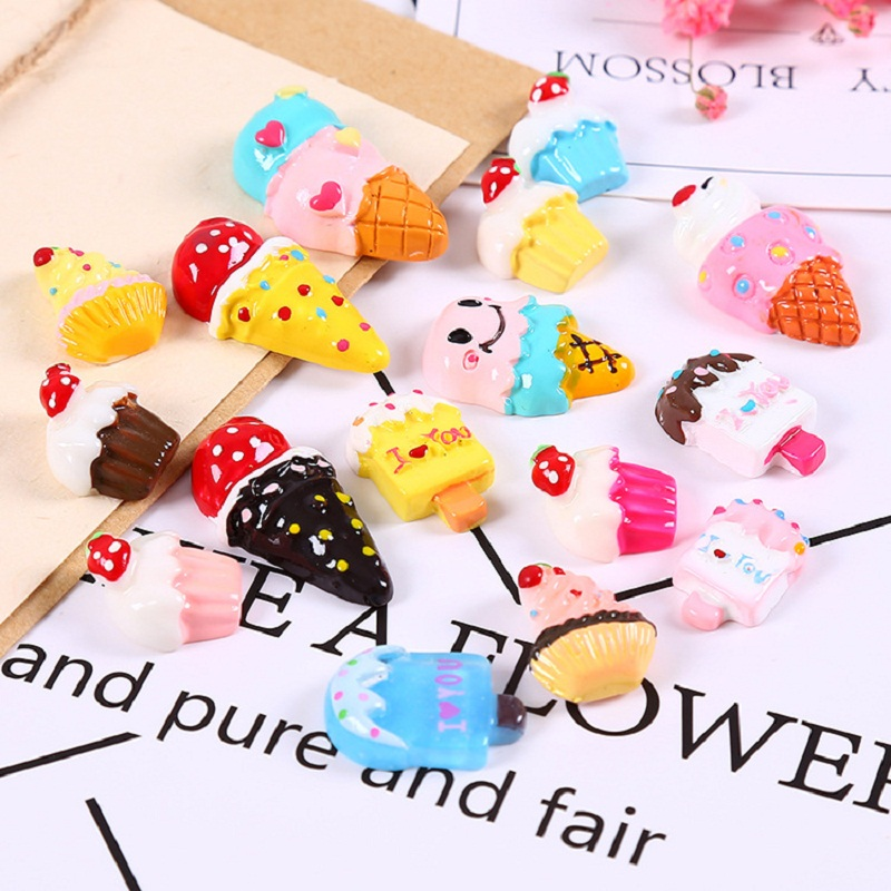 10Pcs Mix Resin Simulated Ice Cream DIY Accessories SLIME Filling Gel Mobile Phone Shell Decoration