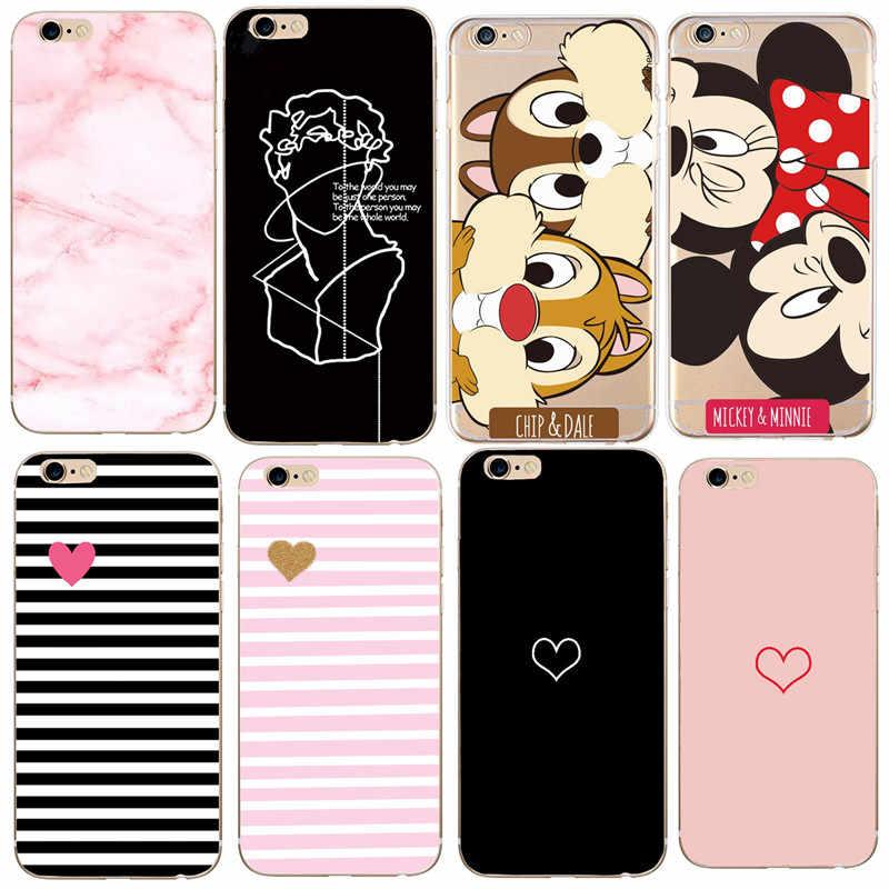 Voor iPhone X Case 5 5 S 6 6 S 7 8 Plus X XS Bladeren Minnie Voor Cover iPhone 7 SE Case Soft TPU Voor Capa iPhone 8 Case Capinha