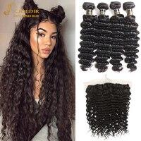 Joedir Hair Deep Wave Bundles With Frontal Human Hair Bundles With Frontal 3 Bundles With Frontal Peruvian Deep Wave With Front