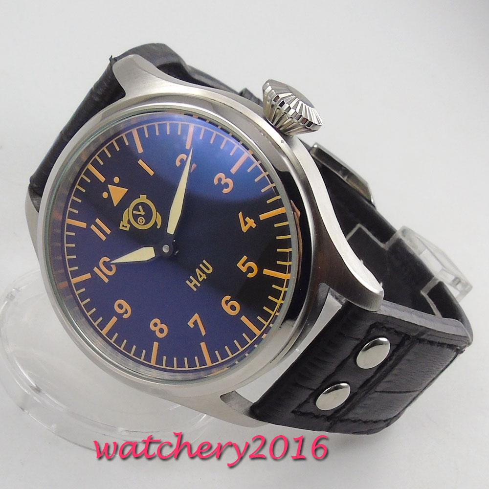 47mm corgeut cadran noir aiguilles lumineuses 6497 mouvement de remontage de la main montre pour hommes - 3