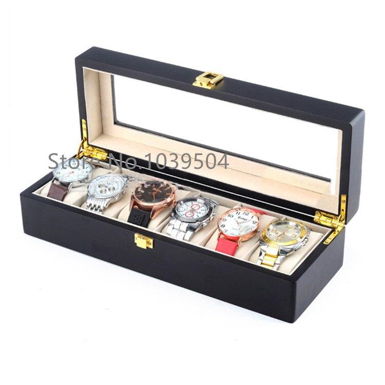 6 Slots Holz Uhr Display Box Schwarz MDF Uhr Veranstalter Fall Neue - Uhrenzubehör - Foto 2