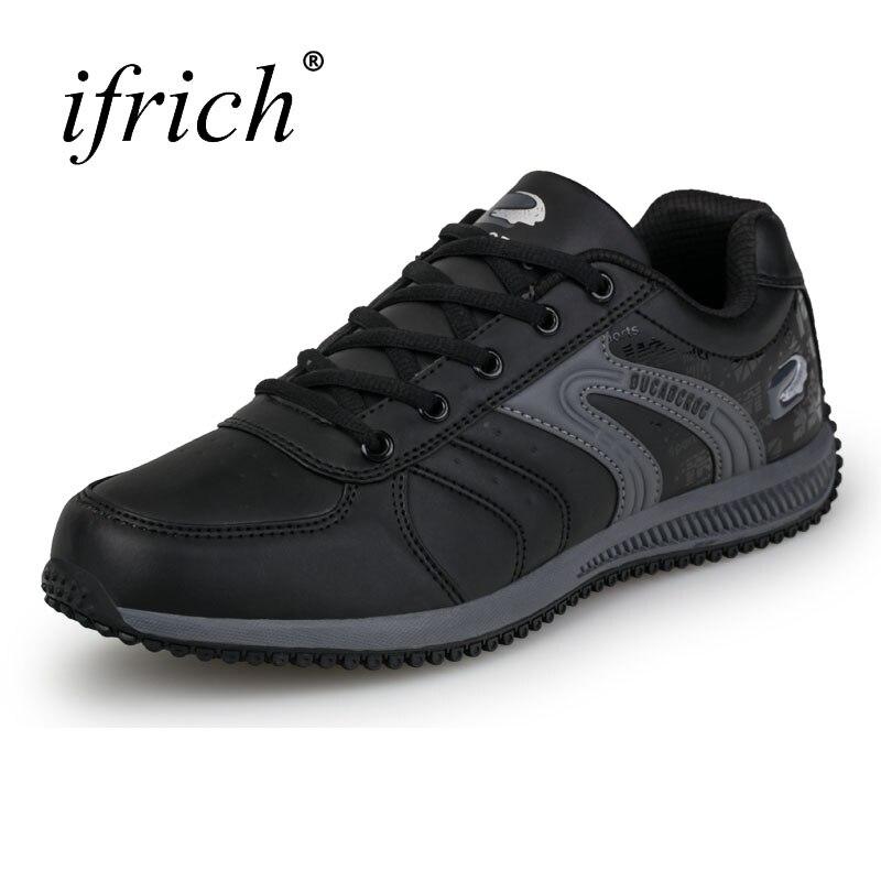 2019 חדש Mens סניקרס שחור לבן עור מפוצל Mens ריצה נעלי אביב סתיו ספורט מאמני