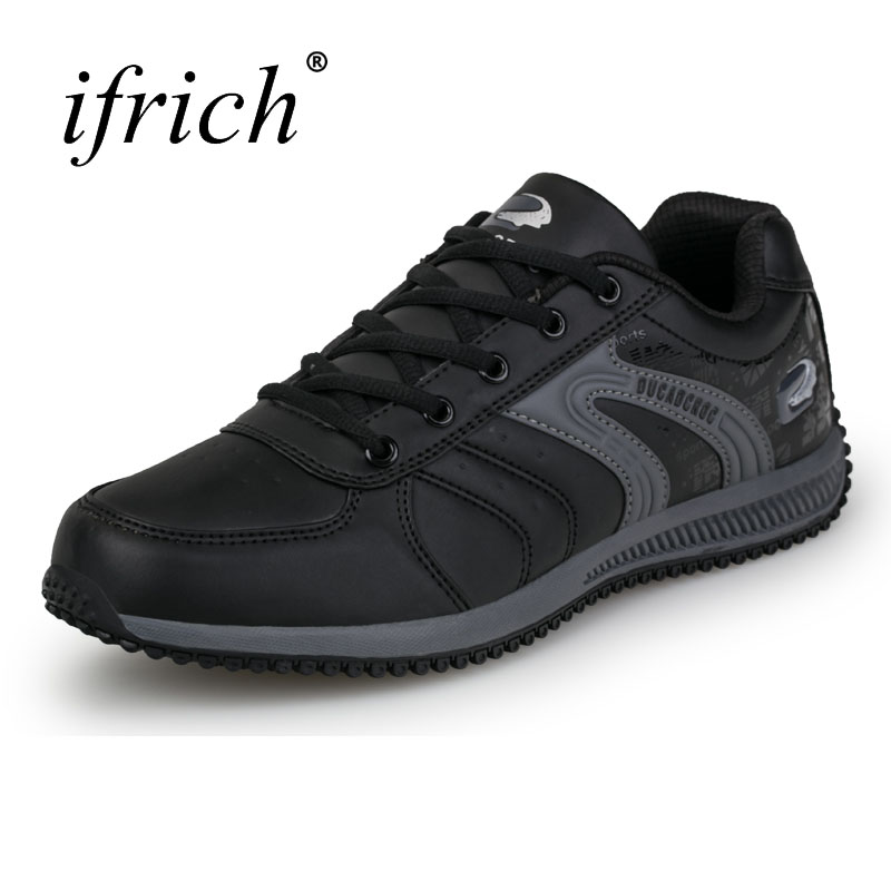 2019 New Running Shoes Mens Sneakers Black White Pu Leather Mens Jogging Shoes Spring Autumn Sport Trainers ifrich big size running shoes for men spring autumn sport walking sneakers leather mens trainers brand black white trail shoes
