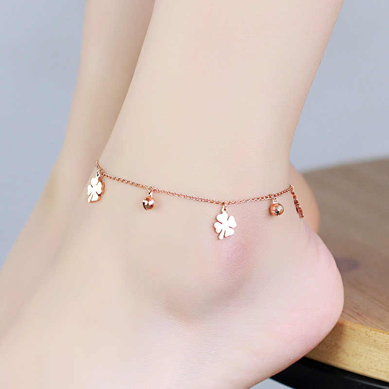 YUN RUO Fashion Rose Gold Anklet Flower And Bell Chain Charm Woman Girl Gift 316L Stainless Steel Jewelry Top Quality Never Fade