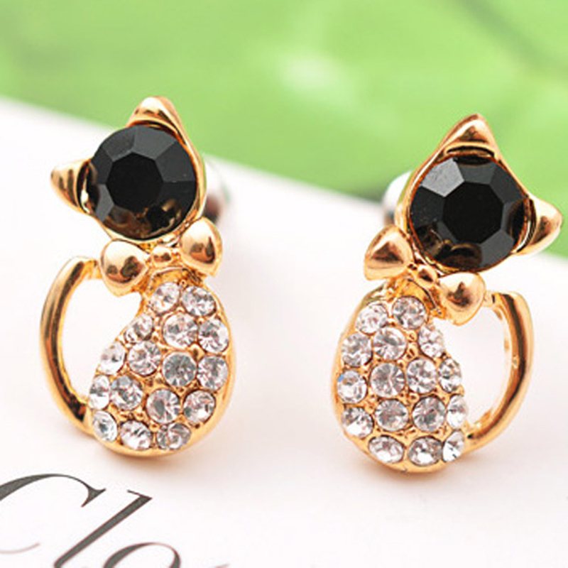 2019 NEW Korean Charm Temperament Fashion Full Rhinestone Cat Cute Bow Kitten Earrings For Women Girls Gift E32W 4g