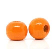 DoreenBeads 200 оранжевые окрашенные Круглые деревянные бусины 10x9 мм (B13662), yiwu