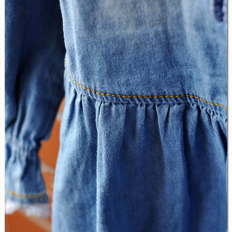 Qız Jean geyimləri, 2016 moda Qızlar üçün Yeni Denim Don, Uzun - Uşaq geyimləri - Fotoqrafiya 4