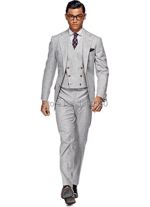 Online Buy Wholesale light grey 3 piece suit from China light grey