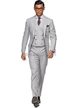 HOT SELLING 100% wool Hand made light grey 3 pieces(jacket+vest+pants) two buttons notch lapel tailored suit