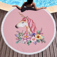 DisDing Pink Cute Print Unicorn Microfiber Round Beach Towel Carpet Decoration With Fringed Beach Blanket