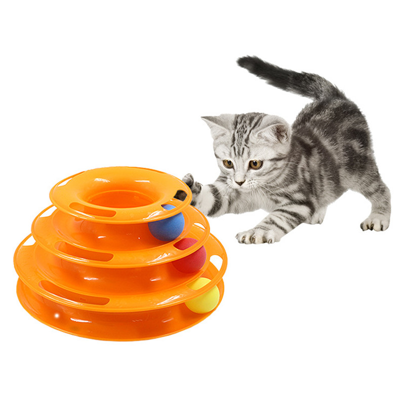Three Levels pet cat toy Tower Tracks Disc cat Intelligence Amusement triple pay disc cat toys ball Training Amusement plate(China)